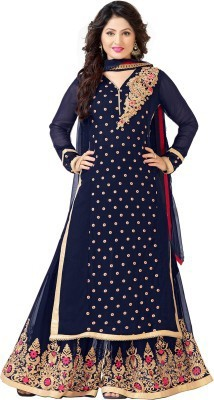 SkyBlue Fashion Georgette Embroidered Salwar Suit Dupatta Material