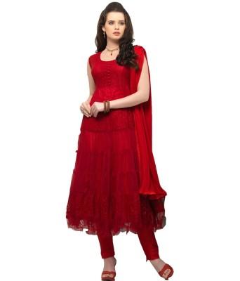 F3 Fashion Brasso Embroidered Semi-stitched Salwar Suit Dupatta Material