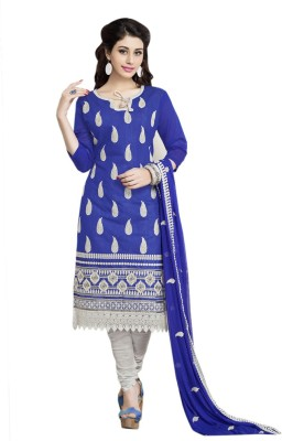 Ligalz Cotton Embroidered Semi-stitched Salwar Suit Dupatta Material