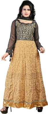 Ecoco Georgette Embroidered Semi-stitched Salwar Suit Dupatta Material