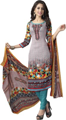 Ishin Cotton Embroidered Semi-stitched Salwar Suit Dupatta Material