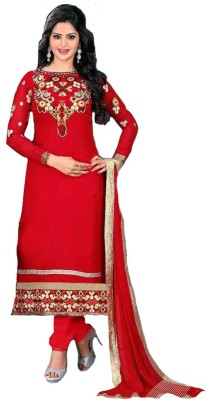 Stylspice Georgette Embroidered Semi-stitched Salwar Suit Dupatta Material