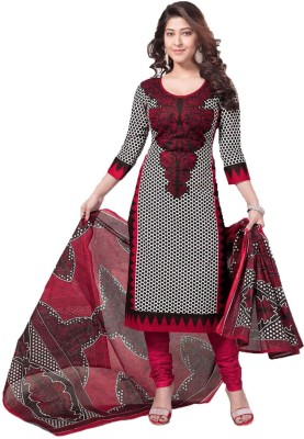 Stylish Girls Cotton Printed Semi-stitched Salwar Suit Dupatta Material