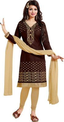 FLADOR Cotton Embroidered Salwar Suit Dupatta Material