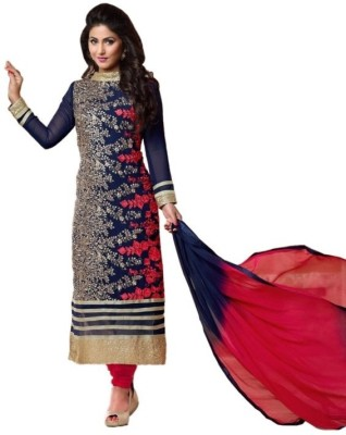 Suitevilla Georgette Embroidered Semi-stitched Salwar Suit Dupatta Material