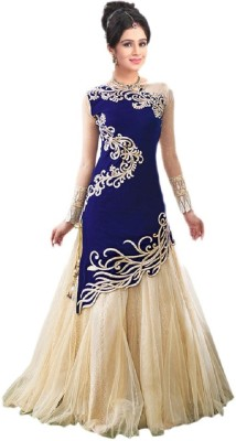 King Sales Net, Velvet Embroidered Semi-stitched Lehenga Choli Material