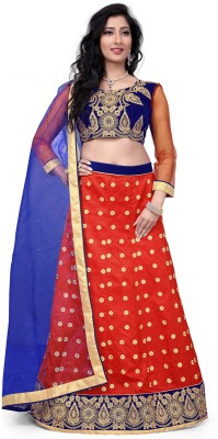 Aarna's Collection Net Embroidered Semi-stitched Lehenga Choli Material