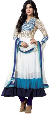 Sanvari Fashion Net Self Design Semi-stitched Salwar Suit Dupatta Material