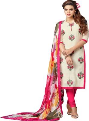 Zeekty Georgette Embroidered Semi-stitched Salwar Suit Dupatta Material