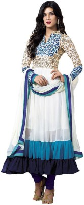 Indianfab Georgette Embroidered Semi-stitched Salwar Suit Dupatta Material