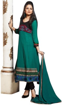 Aagamanfashion Georgette Self Design Semi-stitched Salwar Suit Dupatta Material