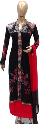 Jashan Fabrics Georgette, Cotton Printed, Embroidered Semi-stitched Salwar Suit Dupatta Material
