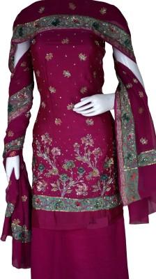 Haleema Crafts Silk, Crepe Printed, Embroidered Salwar Suit Material