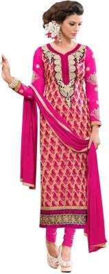 GoAavaran Brasso Embroidered Semi-stitched Salwar Suit Dupatta Material