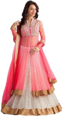 madhav enterprise Net Embroidered Lehenga Choli Material