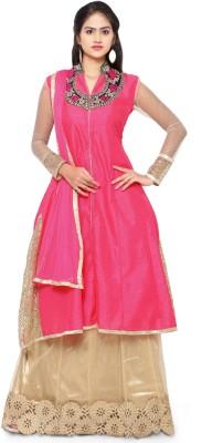 JENNYFASTER Georgette Embroidered Semi-stitched Salwar Suit Dupatta Material
