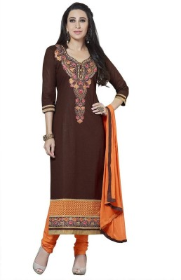 Jaamso Chiffon, Cotton, Cotton Silk Blend Embroidered Semi-stitched Salwar Suit Dupatta Material