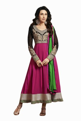 Linyesha Boutique Georgette, Crepe, Chiffon Self Design Semi-stitched Salwar Suit Dupatta Material (Unstitched)