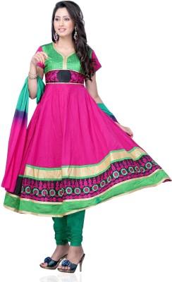 Nine Threads Cotton Self Design Semi-stitched Salwar Suit Dupatta Material