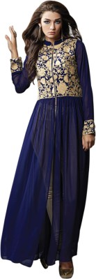 Styles Closet Georgette Embroidered Semi-stitched Salwar Suit Material