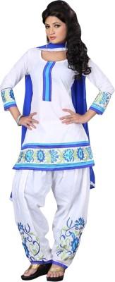 KrishaFashion Cotton Embroidered Semi-stitched Salwar Suit Dupatta Material
