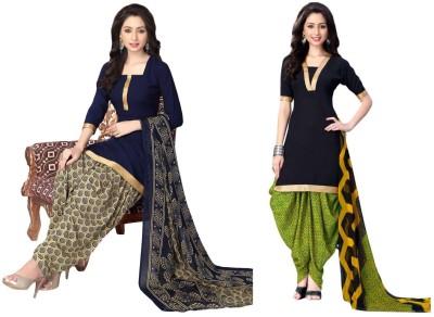 Jevi Prints Synthetic Printed, Solid Salwar Suit Dupatta Material, Salwar Suit Material