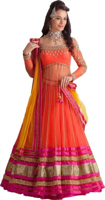 HSFS Net Embroidered Semi-stitched Salwar Suit Dupatta Material