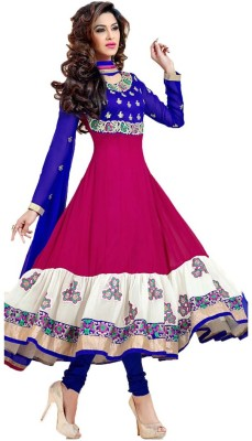 Shivdressmaterials Georgette Embroidered Semi-stitched Salwar Suit Dupatta Material