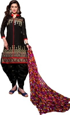 Shopping Queen Cotton Embroidered Semi-stitched Salwar Suit Material