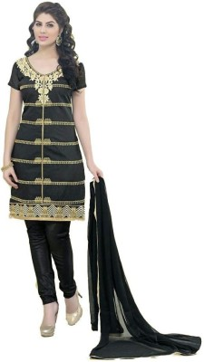 Archon Ecommerce Chanderi Embroidered Semi-stitched Salwar Suit Dupatta Material