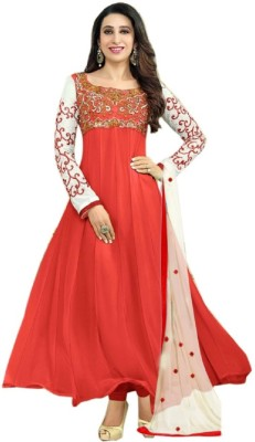 Janvi Georgette Embroidered Semi-stitched Salwar Suit Dupatta Material