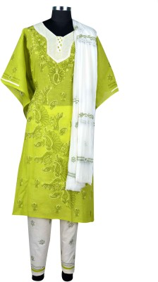 Sai Chikan Cotton Embroidered Semi-stitched Salwar Suit Dupatta Material