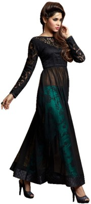 Fashion Forever Georgette Embroidered Semi-stitched Gown, Salwar and Dupatta Material