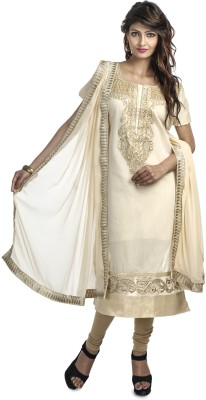 Priti & Sunny Chanderi Embroidered Semi-stitched Salwar Suit Dupatta Material