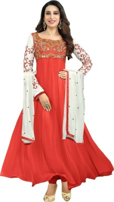 Helix Enterprise Georgette Embroidered Semi-stitched Salwar Suit Dupatta Material