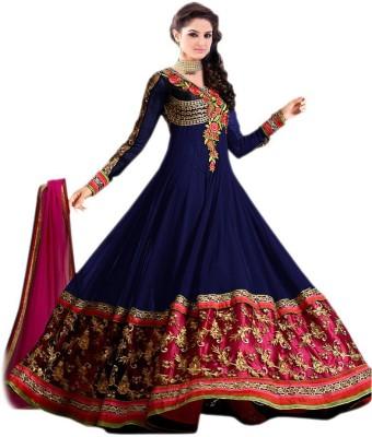 Aksh Georgette Embroidered Semi-stitched Salwar Suit Dupatta Material