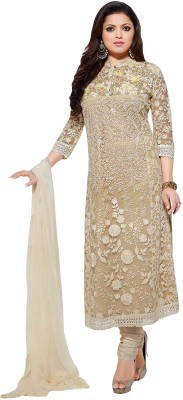 Raagvi Net Embroidered Semi-stitched Salwar Suit Dupatta Material