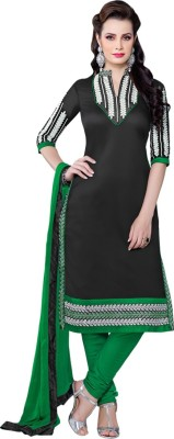 VH Fashion Chanderi Embroidered Semi-stitched Salwar Suit Dupatta Material