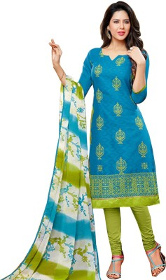 The Fashion World Jacquard Embroidered Semi-stitched Salwar Suit Dupatta Material