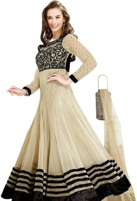 DWM Net Embroidered Semi-stitched Salwar Suit Dupatta Material