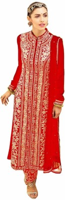 Vandv Shop Velvet Embroidered Semi-stitched Salwar Suit Dupatta Material