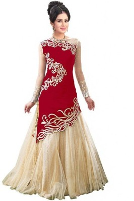 King Sales Velvet Embroidered Semi-stitched Lehenga Choli Material
