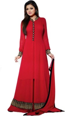 N Paraswanath Georgette Embroidered Semi-stitched Salwar Suit Dupatta Material