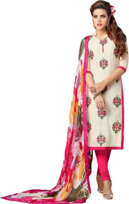 Hari Krishna Enterprise Cotton Self Design Semi-stitched Salwar Suit Dupatta Material