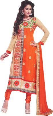 Price Bet Georgette Embroidered Semi-stitched Salwar Suit Dupatta Material