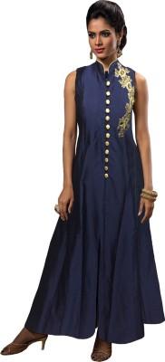 Fabfirki Fashion Hub Silk Embroidered Semi-stitched Salwar Suit Material