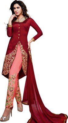 Vimush Fashion Georgette Embroidered Semi-stitched Salwar Suit Dupatta Material