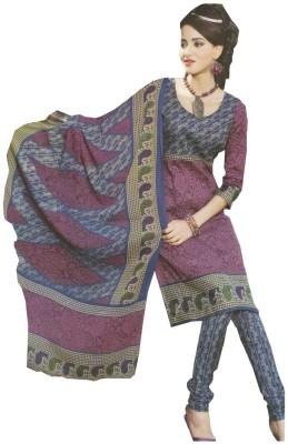 GLOBLOOM Cotton, Cotton Polyester Blend Floral Print, Striped Salwar Suit Dupatta Material
