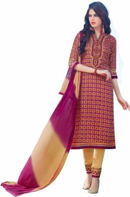ALTG Cotton Printed, Embroidered Salwar Suit Dupatta Material