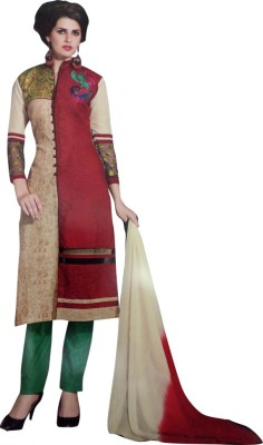 Family Shop Net, Jute Embroidered Semi-stitched Salwar Suit Material